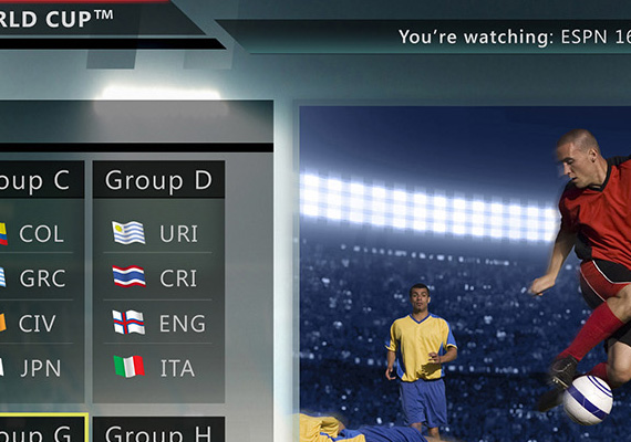 This project was a U-verse television application for the 2014 FIFA World Cup that took place from June, 12 2014 to June, 26 2014. This application had a main program viewing home page, a countries page where each team's schedules and stats were shown, a full FIFA schedule, a groupings page and a slimed down, 2-channel mult-view set up.                                 <br/><br/>                                 Project Details                                 <ul>                                     <li><strong>Name</strong>: 2014 FIFA World Cup</li>                                     <li><strong>Position</strong>: Application Developer AT&amp;T via Tekmark</li>                                     <li><strong>Type</strong>: U-verse Tv Application Design</li>                                     <li><strong>Role</strong>: UX/UI Designer / Design Lead</li>                                     <li><strong>Year</strong>: 2014</li>                                   </ul>