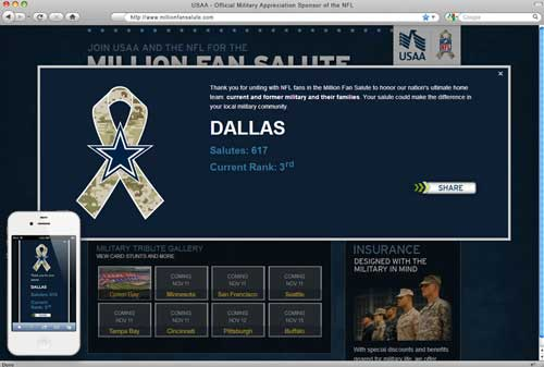 NFL Million Fan Salute UI Design and Development